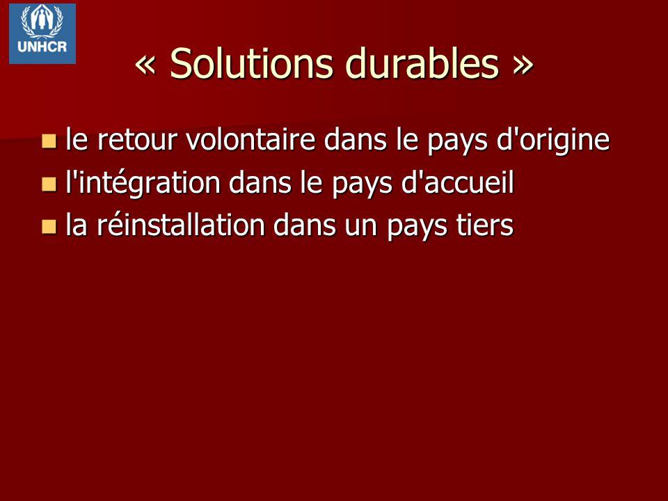 « Solutions durables » le retour volontaire dans le pays d origine