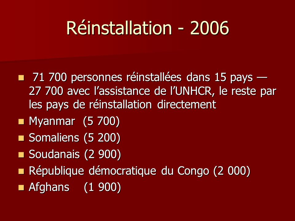 Réinstallation - 2006