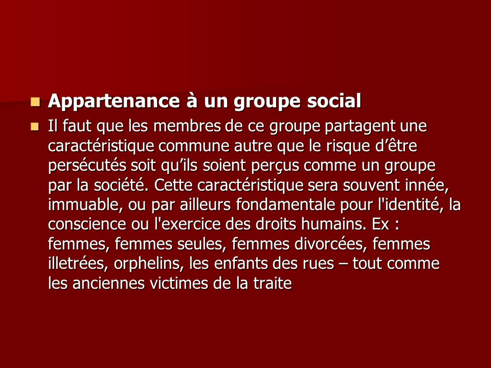 Appartenance à un groupe social