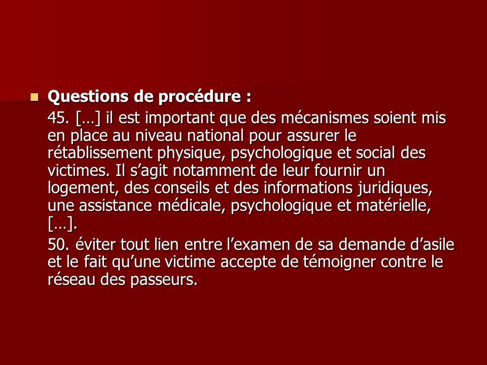 Questions de procédure :