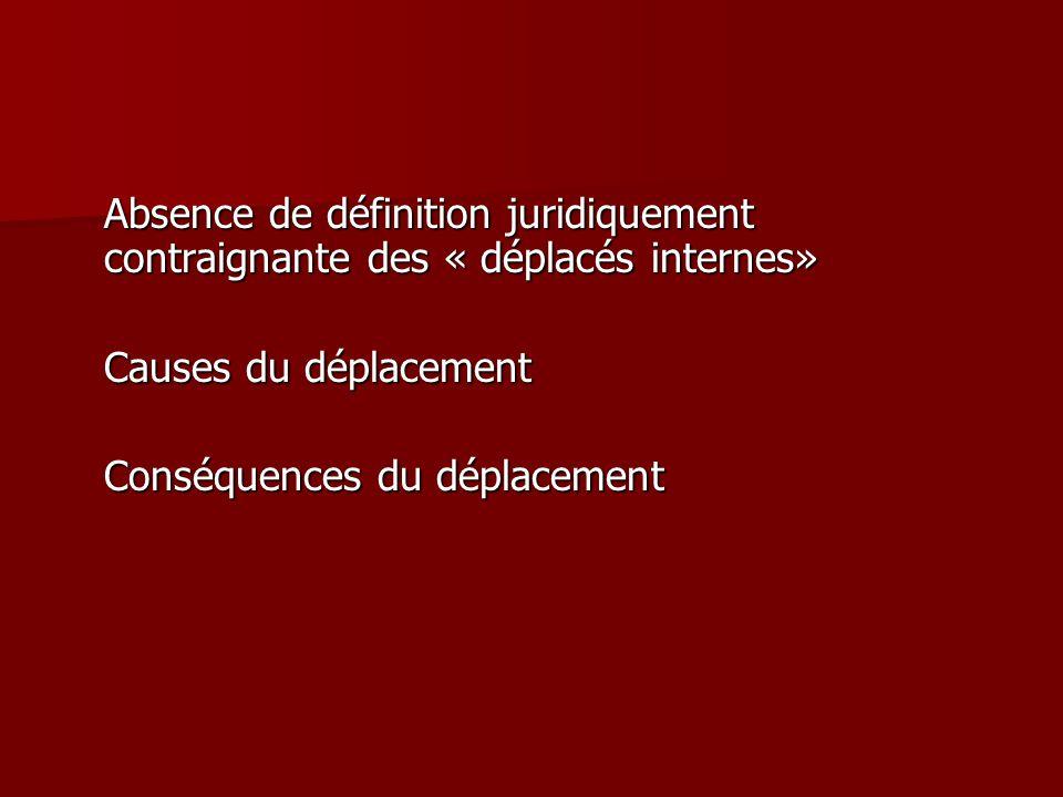 Absence de définition juridiquement contraignante des « déplacés internes»