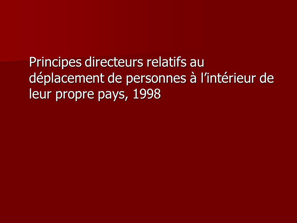 Principes directeurs relatifs au déplacement de personnes à l'intérieur de leur propre pays, 1998