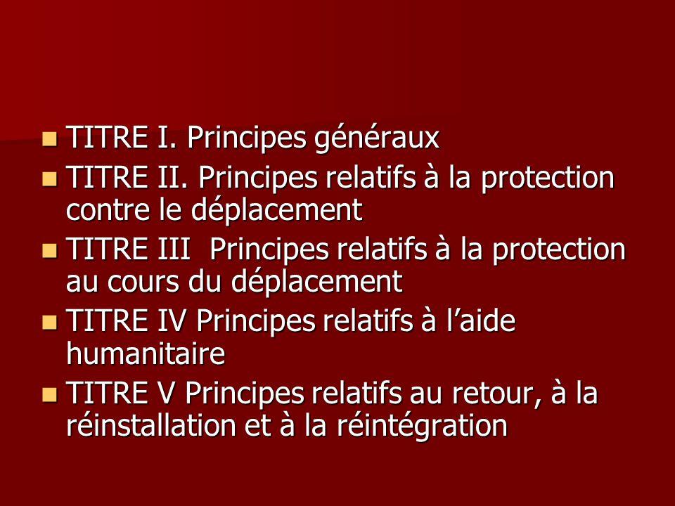 TITRE I. Principes généraux