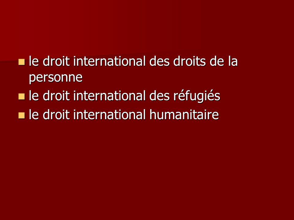 le droit international des droits de la personne