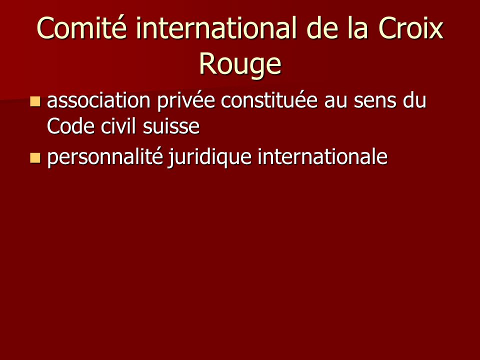 Comité international de la Croix Rouge