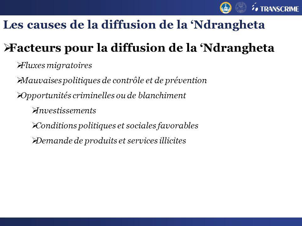 Les causes de la diffusion de la 'Ndrangheta