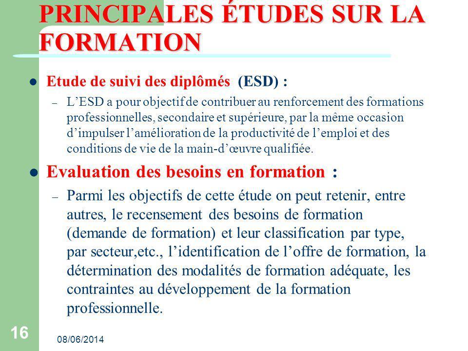 PRINCIPALES ÉTUDES SUR LA FORMATION