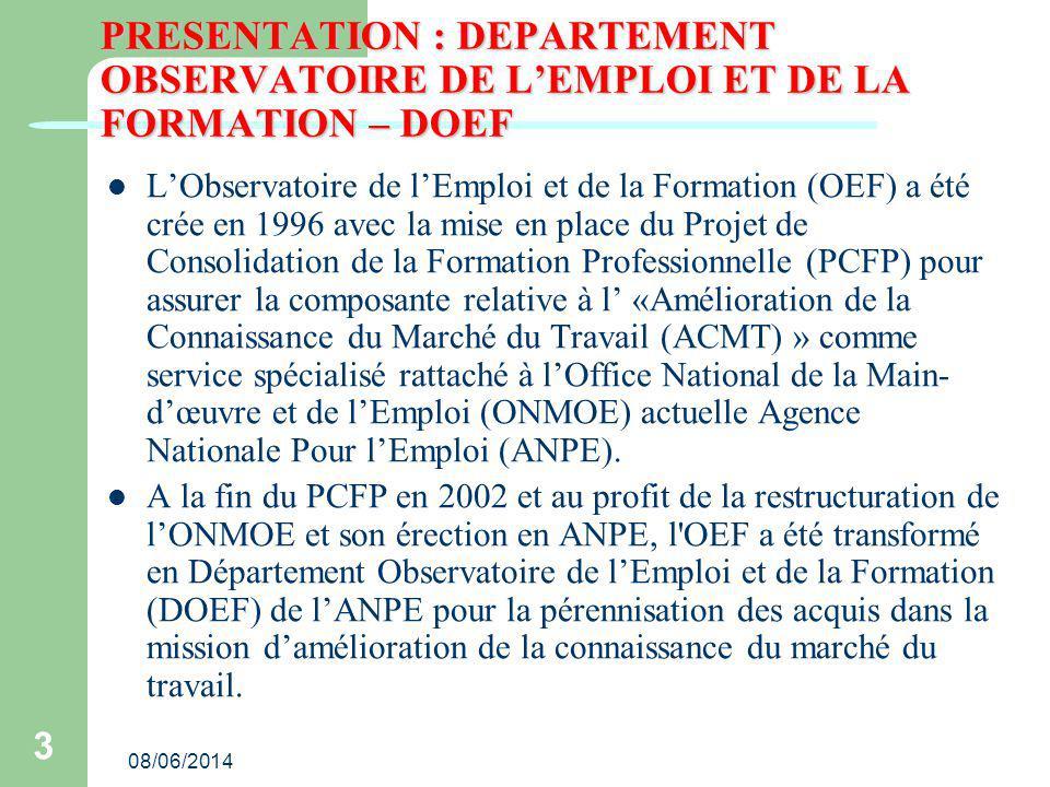 PRESENTATION : DEPARTEMENT OBSERVATOIRE DE L'EMPLOI ET DE LA FORMATION – DOEF