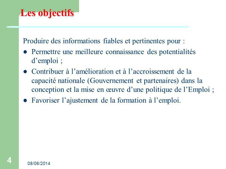 Les objectifs Produire des informations fiables et pertinentes pour :