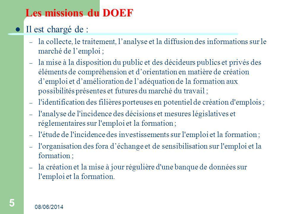 Les missions du DOEF Il est chargé de :