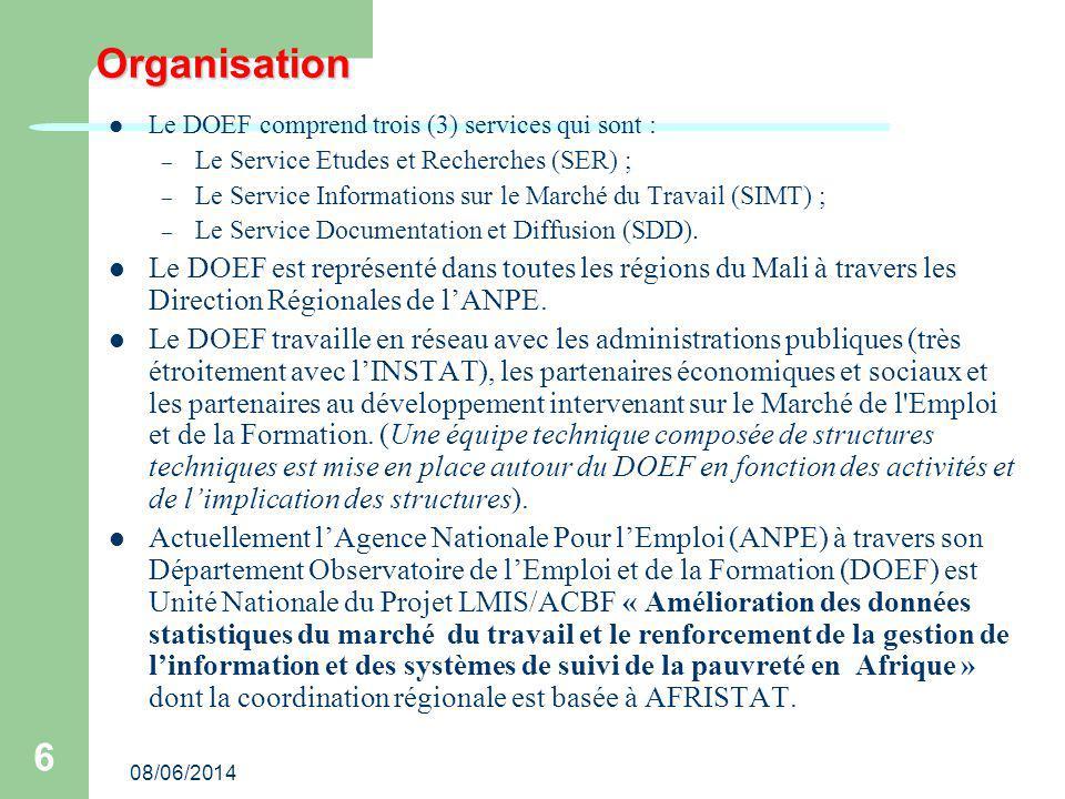Organisation Le DOEF comprend trois (3) services qui sont : Le Service Etudes et Recherches (SER) ;