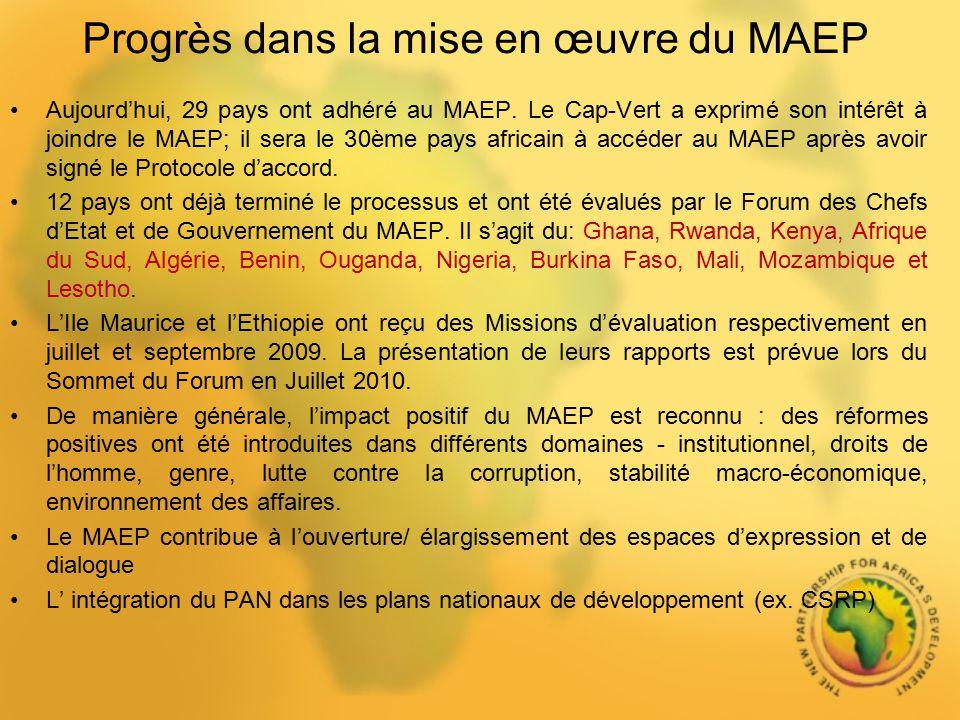 Progrès dans la mise en œuvre du MAEP