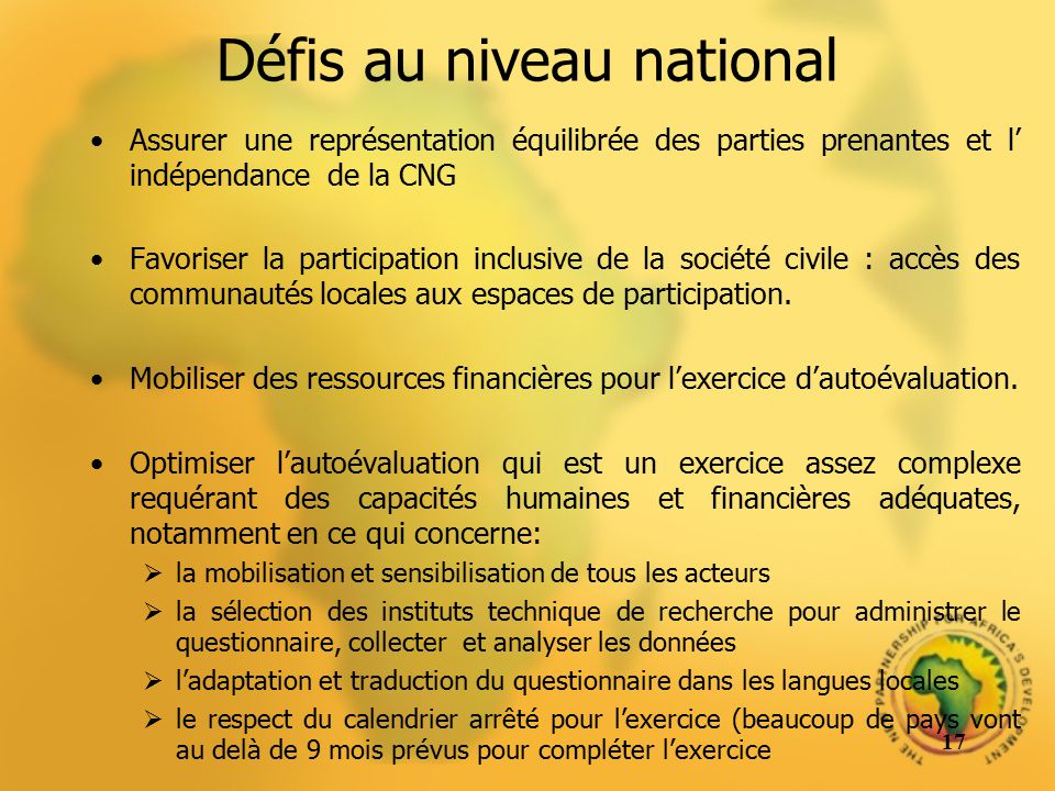 Défis au niveau national