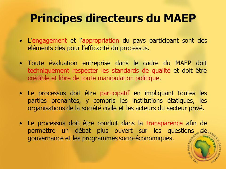 Principes directeurs du MAEP