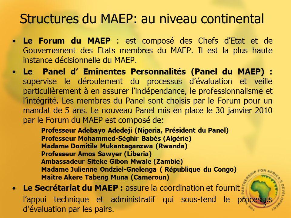 Structures du MAEP: au niveau continental