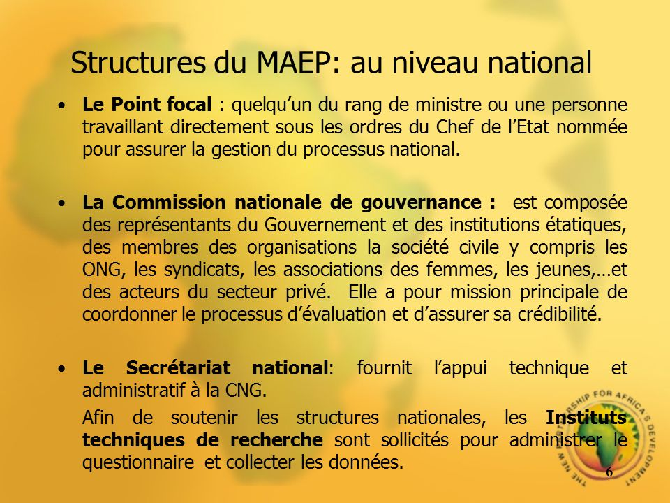 Structures du MAEP: au niveau national