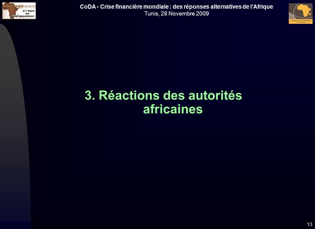 3. Réactions des autorités africaines