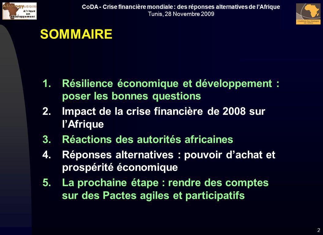 SOMMAIRE Résilience économique et développement : poser les bonnes questions. Impact de la crise financière de 2008 sur l'Afrique.