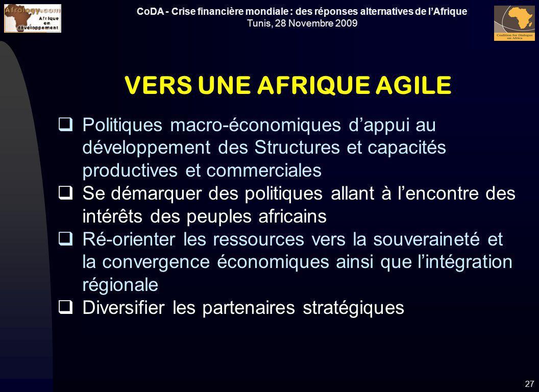 VERS UNE AFRIQUE AGILE Politiques macro-économiques d'appui au développement des Structures et capacités productives et commerciales.