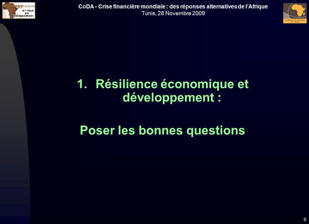 Résilience économique et développement : Poser les bonnes questions