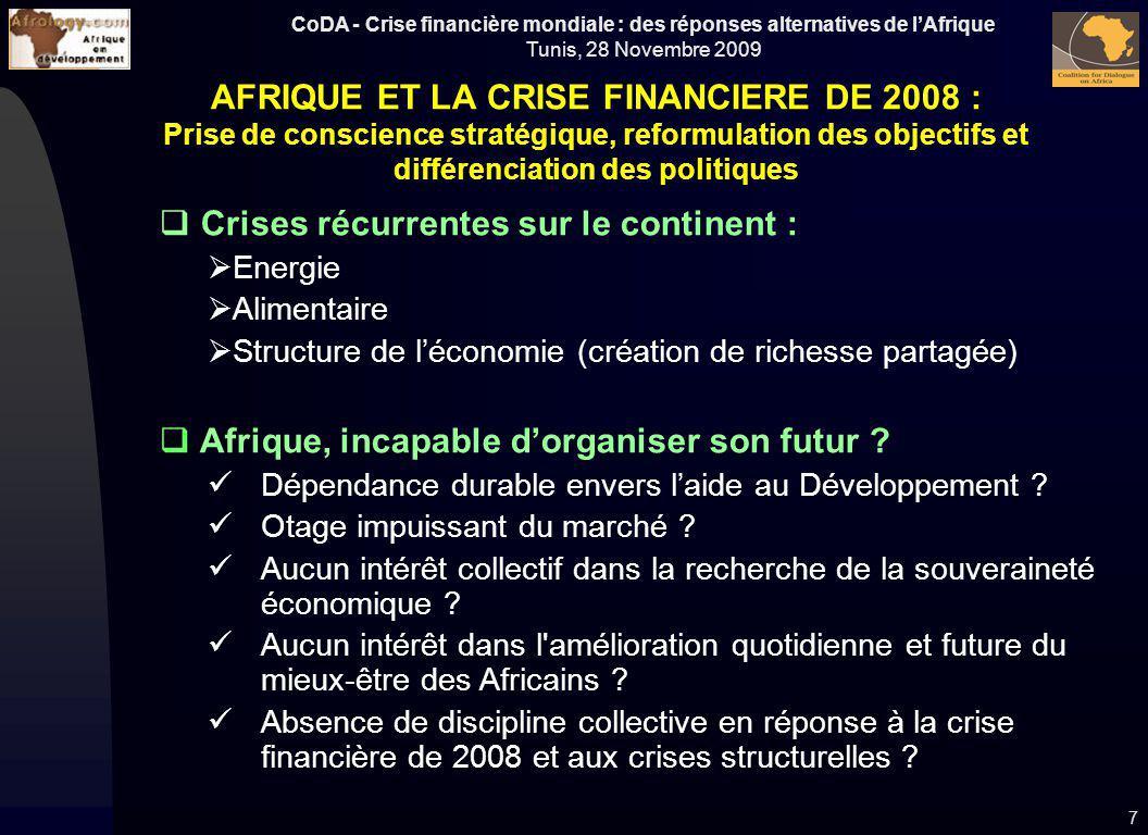 AFRIQUE ET LA CRISE FINANCIERE DE 2008 :