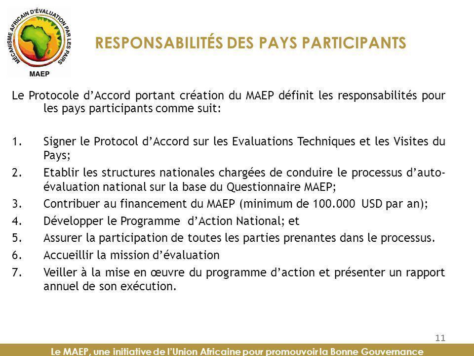 RESPONSABILITÉS DES PAYS PARTICIPANTS