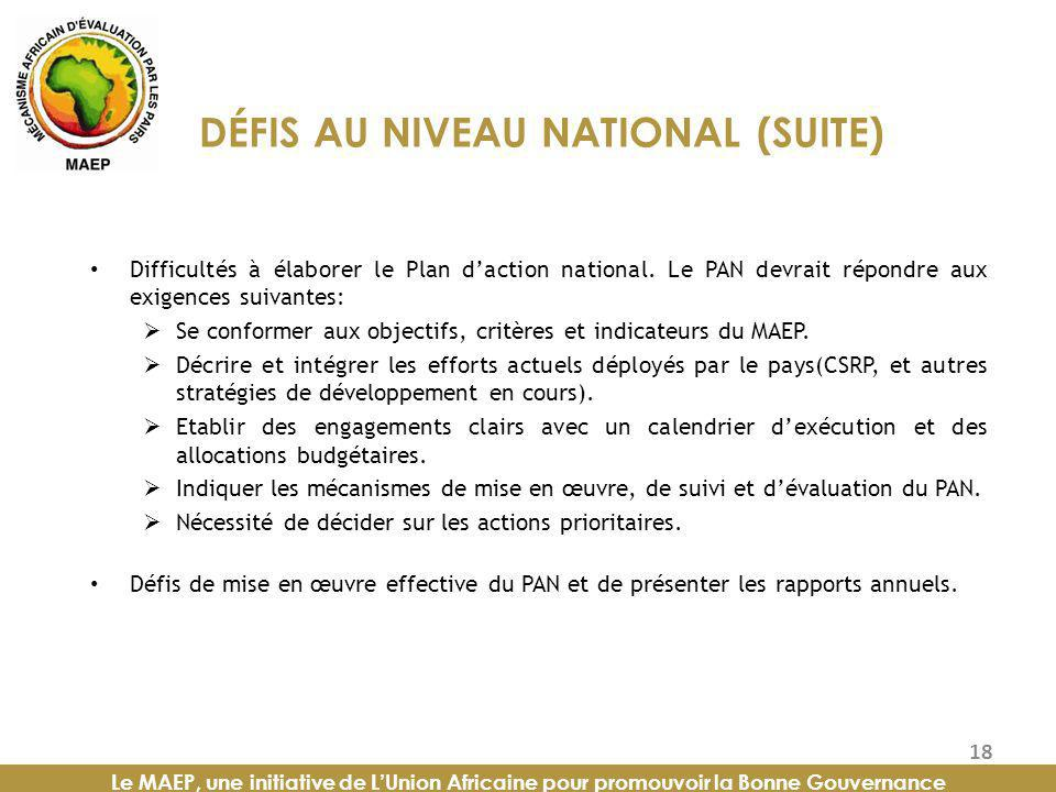DÉFIS AU NIVEAU NATIONAL (SUITE)