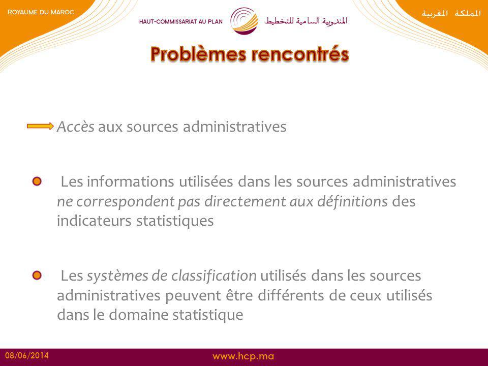 Problèmes rencontrés Accès aux sources administratives