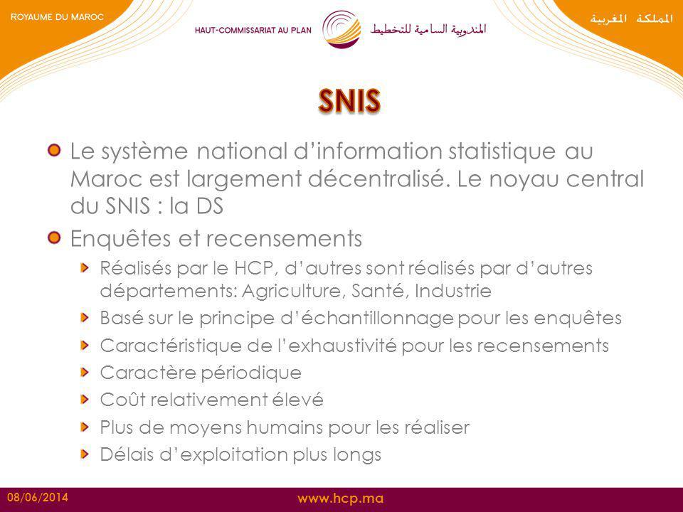 SNIS Le système national d'information statistique au Maroc est largement décentralisé. Le noyau central du SNIS : la DS.