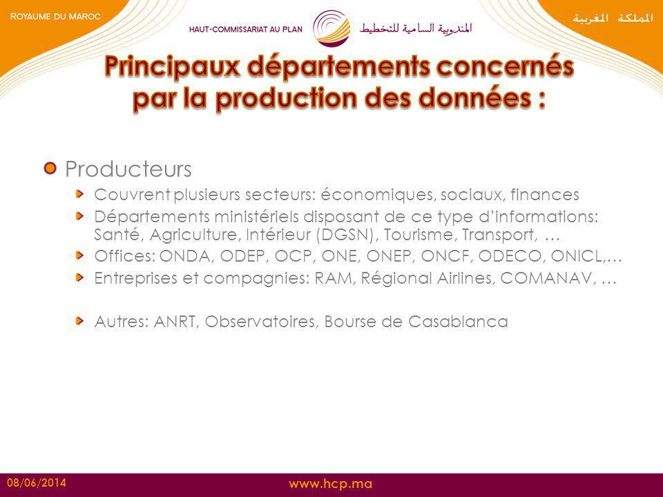Principaux départements concernés par la production des données :