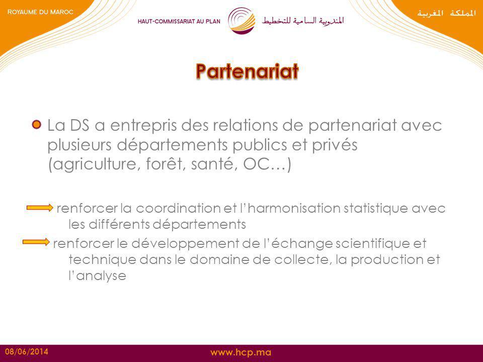 Partenariat La DS a entrepris des relations de partenariat avec plusieurs départements publics et privés (agriculture, forêt, santé, OC…)