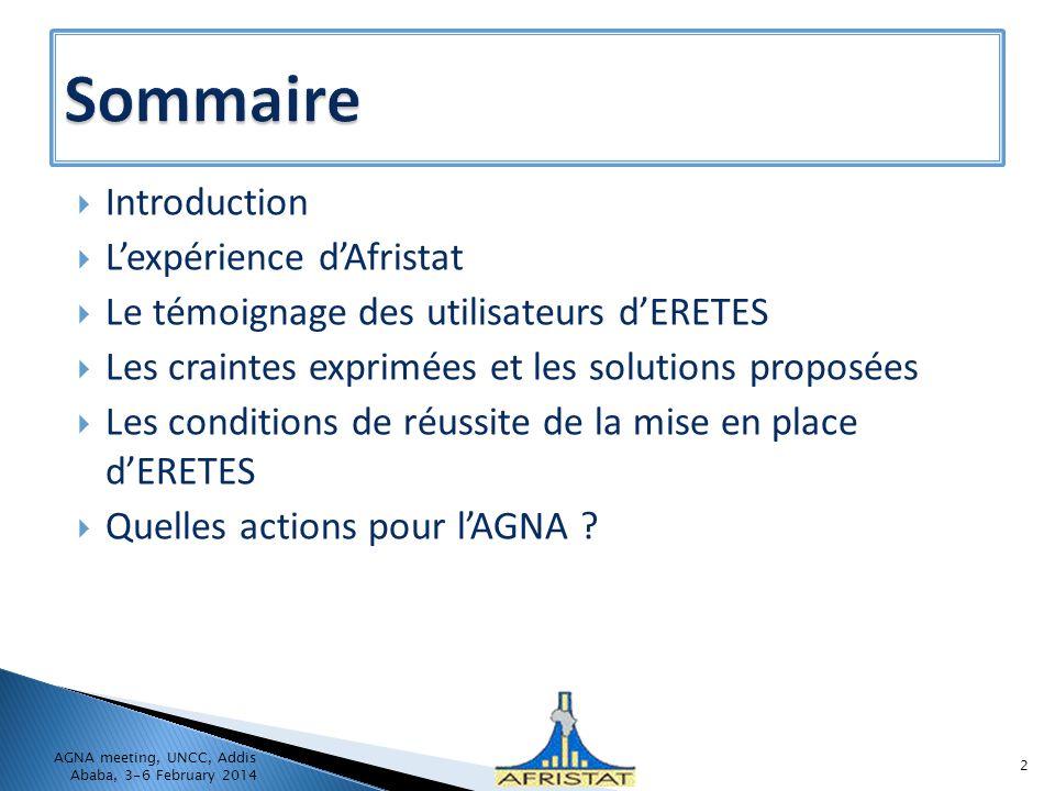Sommaire Introduction L'expérience d'Afristat