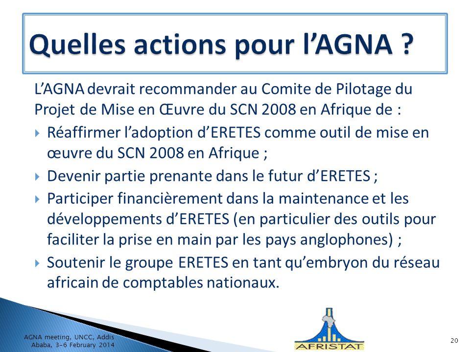 Quelles actions pour l'AGNA