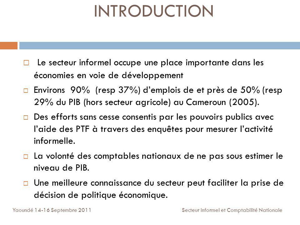 INTRODUCTION Le secteur informel occupe une place importante dans les économies en voie de développement.