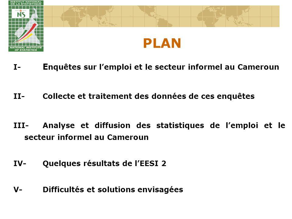 PLAN I- Enquêtes sur l'emploi et le secteur informel au Cameroun