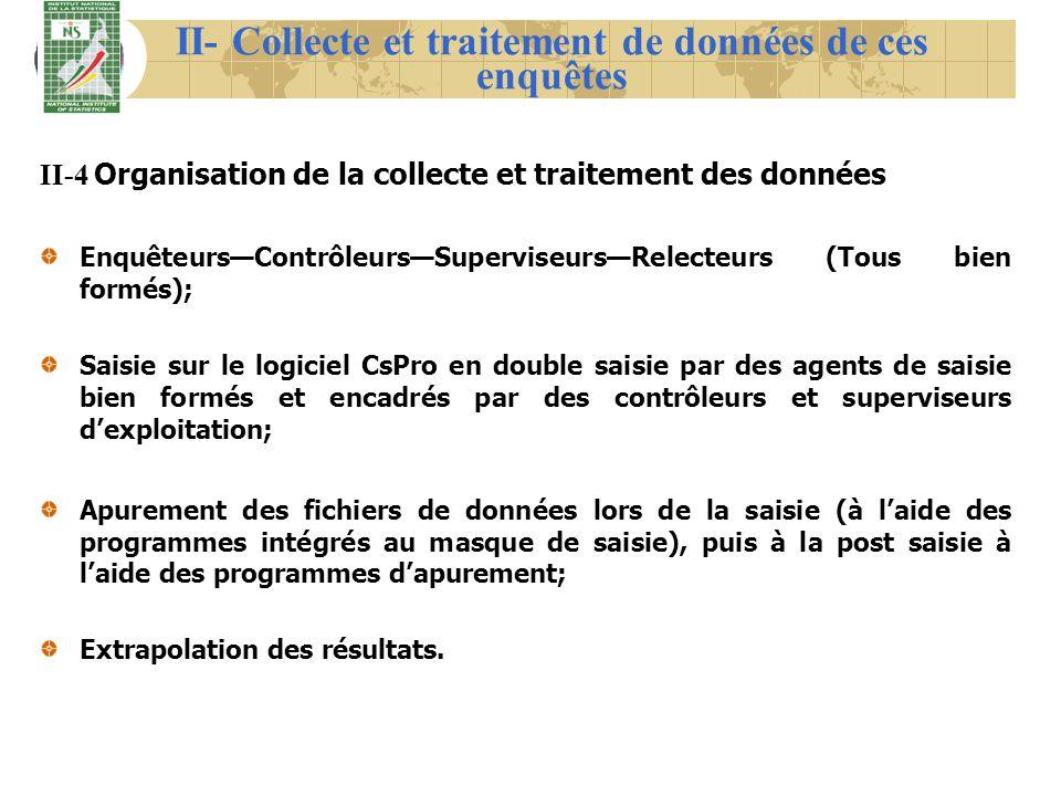 II- Collecte et traitement de données de ces enquêtes