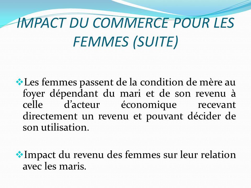IMPACT DU COMMERCE POUR LES FEMMES (SUITE)