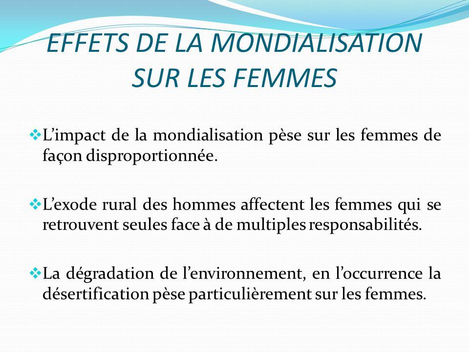 EFFETS DE LA MONDIALISATION SUR LES FEMMES