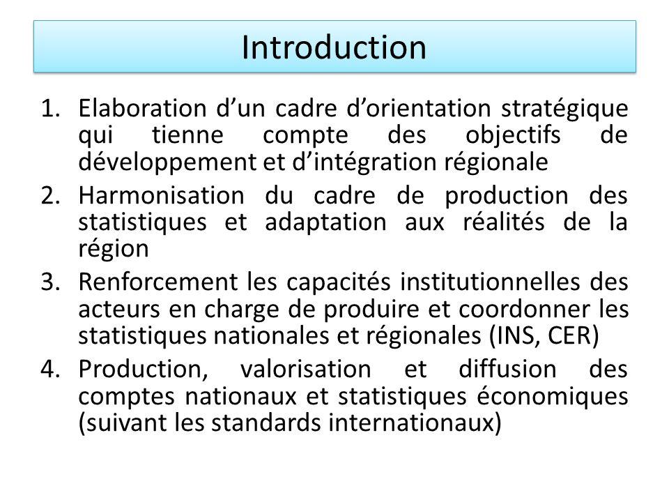 Introduction Elaboration d'un cadre d'orientation stratégique qui tienne compte des objectifs de développement et d'intégration régionale.