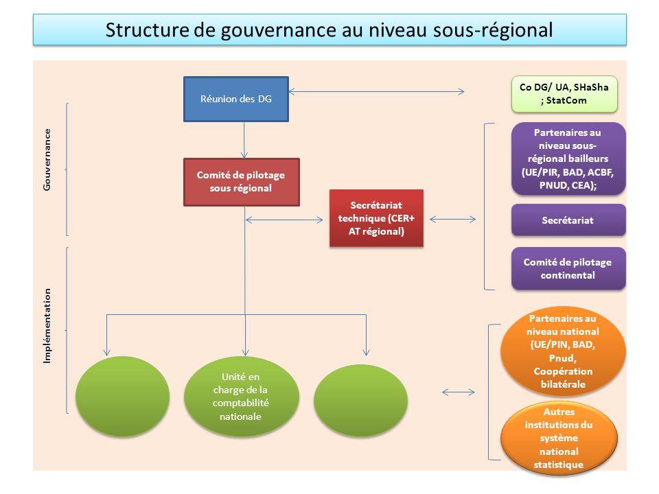Structure de gouvernance au niveau sous-régional