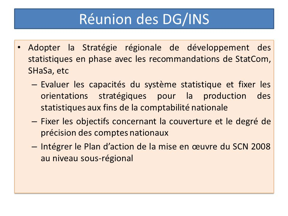 Réunion des DG/INS Adopter la Stratégie régionale de développement des statistiques en phase avec les recommandations de StatCom, SHaSa, etc.