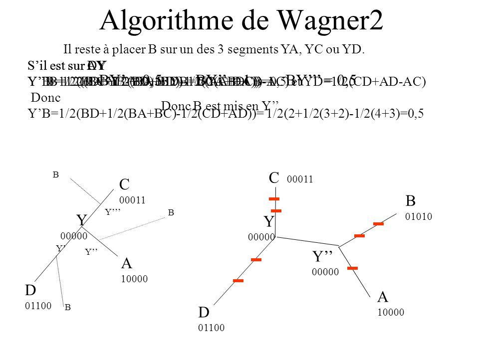 Algorithme de Wagner2 BY' = 0,5 BY'' = 1 BY''' = 0,5 D C 00011 Y A D C