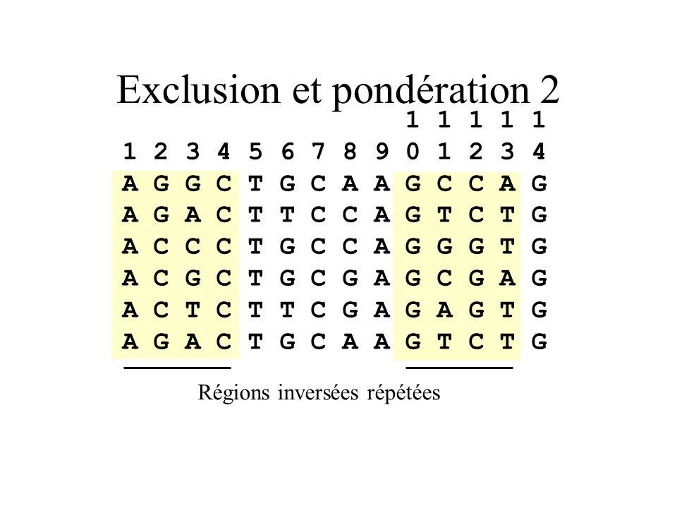 Exclusion et pondération 2
