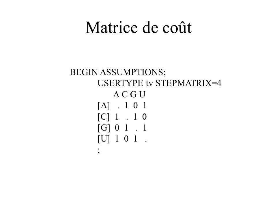 Matrice de coût BEGIN ASSUMPTIONS; USERTYPE tv STEPMATRIX=4 A C G U