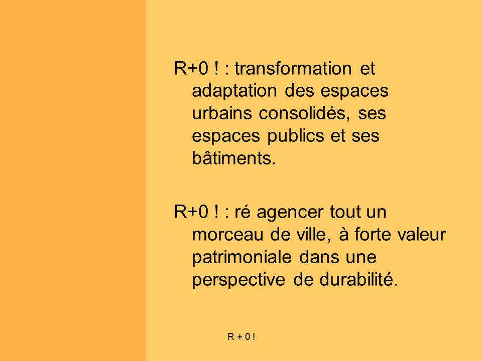 R+0 ! : transformation et adaptation des espaces urbains consolidés, ses espaces publics et ses bâtiments.