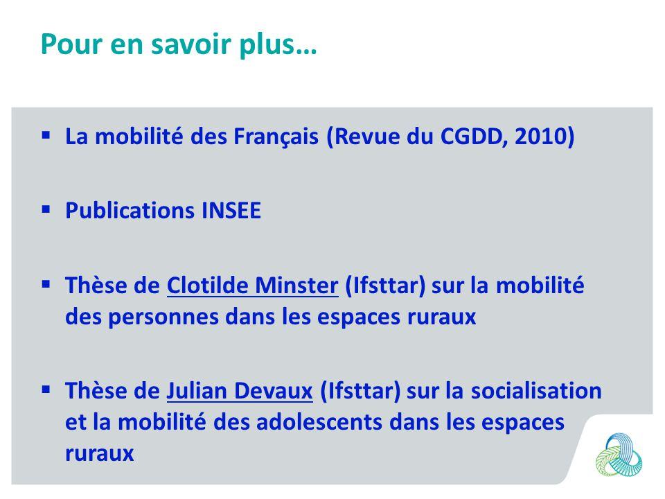 Pour en savoir plus… La mobilité des Français (Revue du CGDD, 2010)