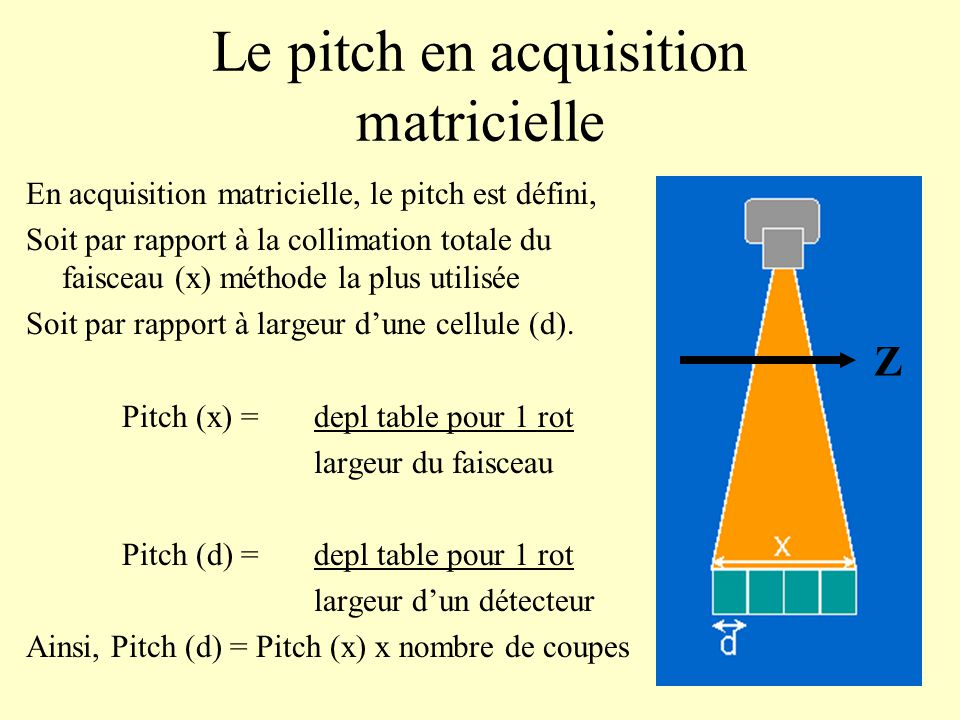 Le pitch en acquisition matricielle