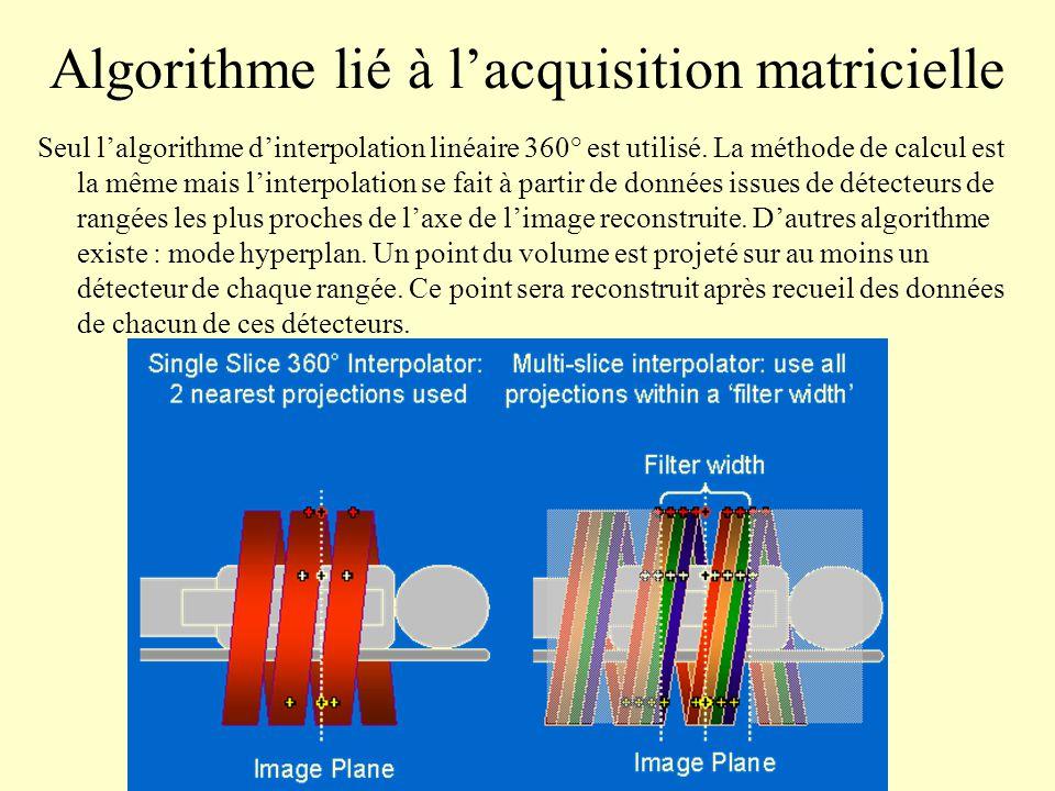 Algorithme lié à l'acquisition matricielle