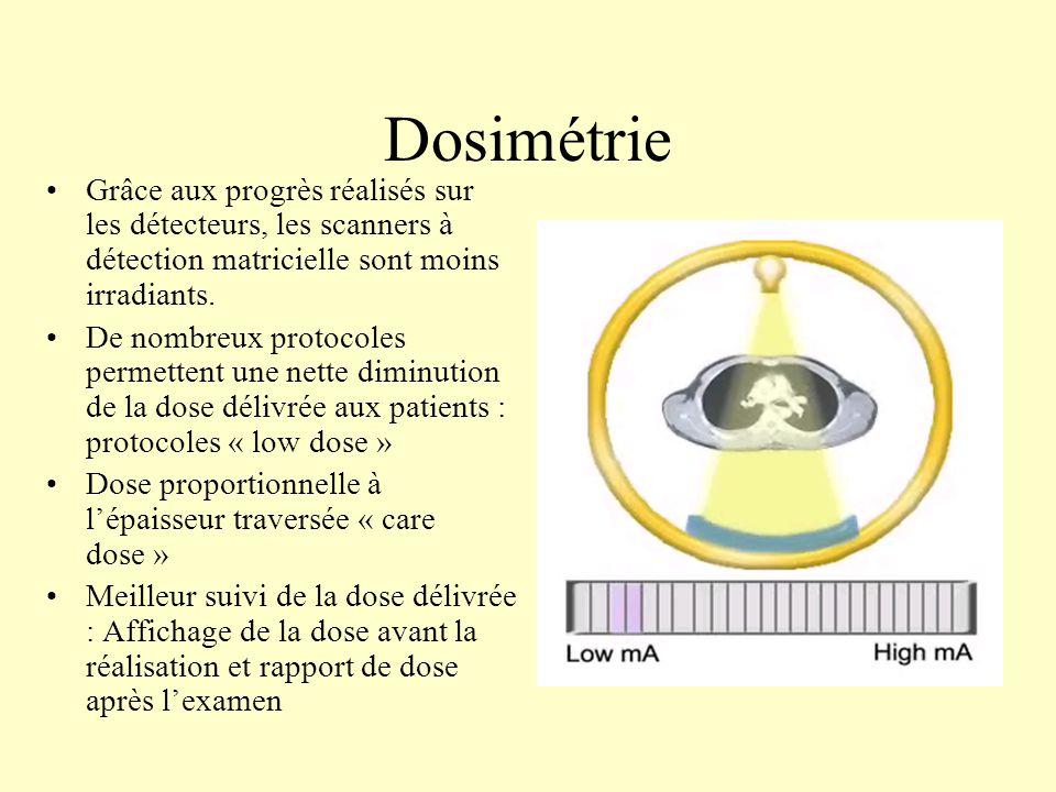 Dosimétrie Grâce aux progrès réalisés sur les détecteurs, les scanners à détection matricielle sont moins irradiants.