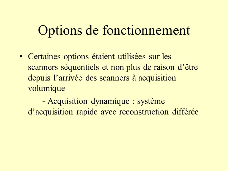 Options de fonctionnement